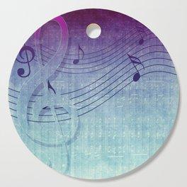 Aqua Purple Ombre Music Notes Cutting Board