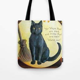 Merry Halloween Black Cat Tote Bag