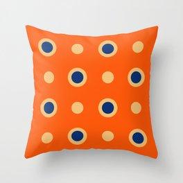 Polka Dot Pattern 241 Orange Blue Throw Pillow