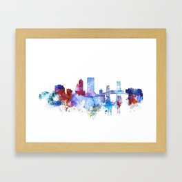 Jacksonville watercolor skyline Framed Art Print