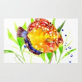 Discus in Aquarium. yellow red green fish illustration Rug