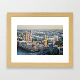 View of Big Ben and Houses of Parliament from London Eye | Europe UK City Urban Landscape Photography Framed Art Print