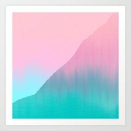 Abstract teal pink aqua geometrical brushstrokes Art Print