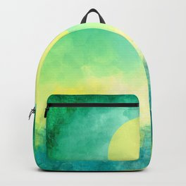 Yellow Moon, Emerald Sky, Blue Water Backpack