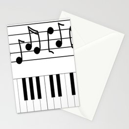 Music Notes with Piano Keyboard Stationery Cards
