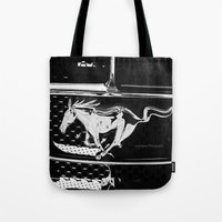 mustang Tote Bags featuring Mustang  by Heidi Maly