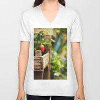 strawberry V-neck T-shirts featuring Strawberry by Nina's clicks