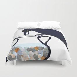 The Crow and the Pitcher Duvet Cover