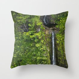 Just Beyond the No Trespassing Sign - Crooked Tropical Waterfall Throw Pillow