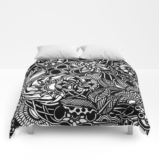 Blooms II Black and White Doodle Art Comforters