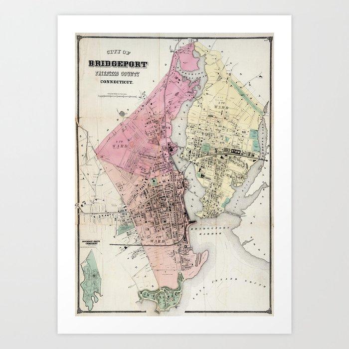 Vintage Map of Bridgeport CT (1867) Art Print by bravuramedia | Society6