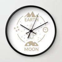 aviation Wall Clocks featuring Aviation: Earth to Moon by Gemaniq