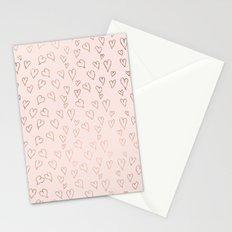 Modern rose gold pastel pink love hearts Valentine's handdrawn pattern Stationery Cards