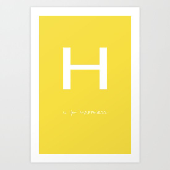 H is for HAPPiNESS - yellow version Art Print