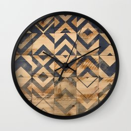Chevron Scatter Black and Wood Wall Clock