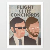 flight of the conchords Art Prints featuring Flight of the Conchords by Jake Jones
