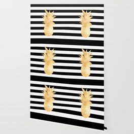 Gold Pineapple Black and White Stripes Wallpaper