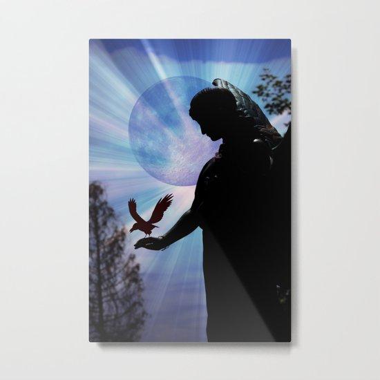 The Angel, Moon & Crow - JUSTART © Metal Print