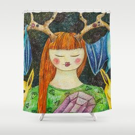 Gril with the Magic Stone Shower Curtain