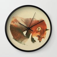 fox Wall Clocks featuring Snow Fox by Andreas Lie