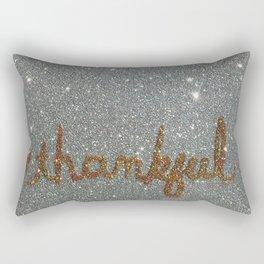 Thankful Holiday Glitter Card Rectangular Pillow