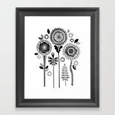 Folksy Flowerheads Framed Art Print