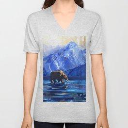 """Blue Bear"" Original, art, Bear Lover, bear art, bear painting, brown bear, nature, wildlife love... Unisex V-Neck"