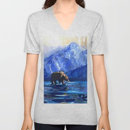 """Blue Bear"" Original, art, Bear Lover, bear art, bear painting, brown bear, nature, wildlife love... Unisex V-Neck"