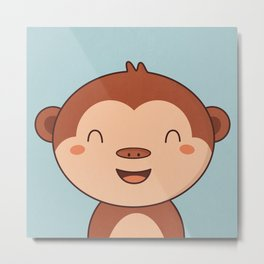 Kawaii Cute Monkey Metal Print