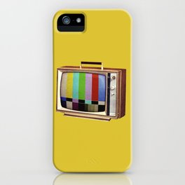 Retro old TV on test screen pattern iPhone Case