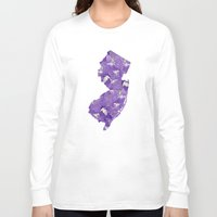 new jersey Long Sleeve T-shirts featuring New Jersey in Flowers by Ursula Rodgers