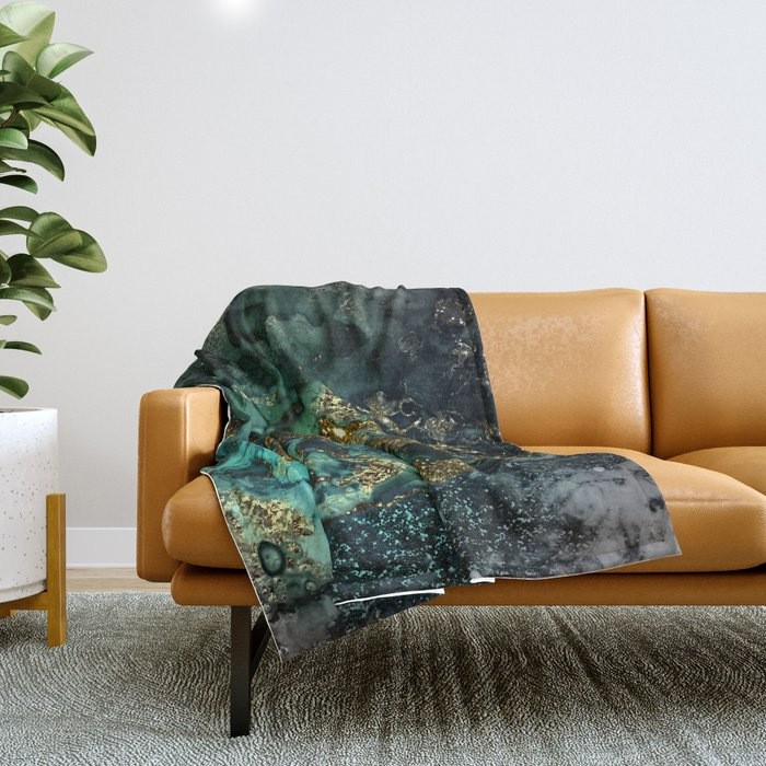 Gold Indigo Malachite Marble Throw Blanket