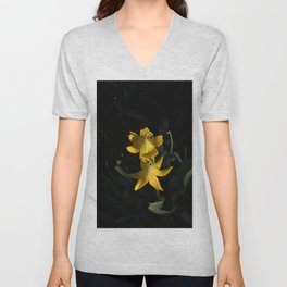 Dew drops on Yellow Glacier Lilies in Glacier National Park Montana Early Morning Unisex V-Neck