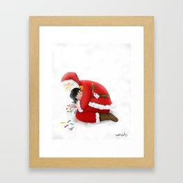 A warm hug from Santa Framed Art Print