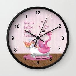 Flamingo Enjoying the Bath Wall Clock