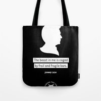 johnny cash Tote Bags featuring JOHNNY CASH by betweenthelines