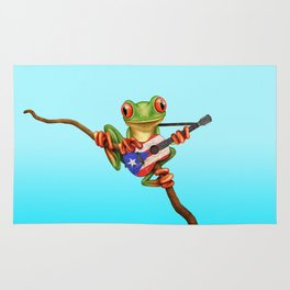 Tree Frog Playing Acoustic Guitar with Flag of Puerto Rico Rug