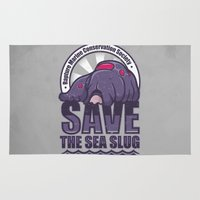 bioshock Area & Throw Rugs featuring Save The Sea Slug by adho1982
