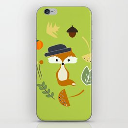 Cute fox in autumn II iPhone Skin