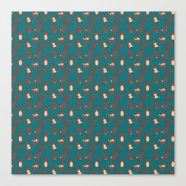 Bear Tumbles blue pattern Canvas Print