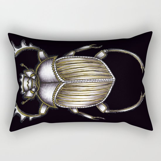Scarab's Curse in Black Rectangular Pillow