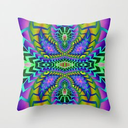 Tribal Rainbow Lotus Throw Pillow