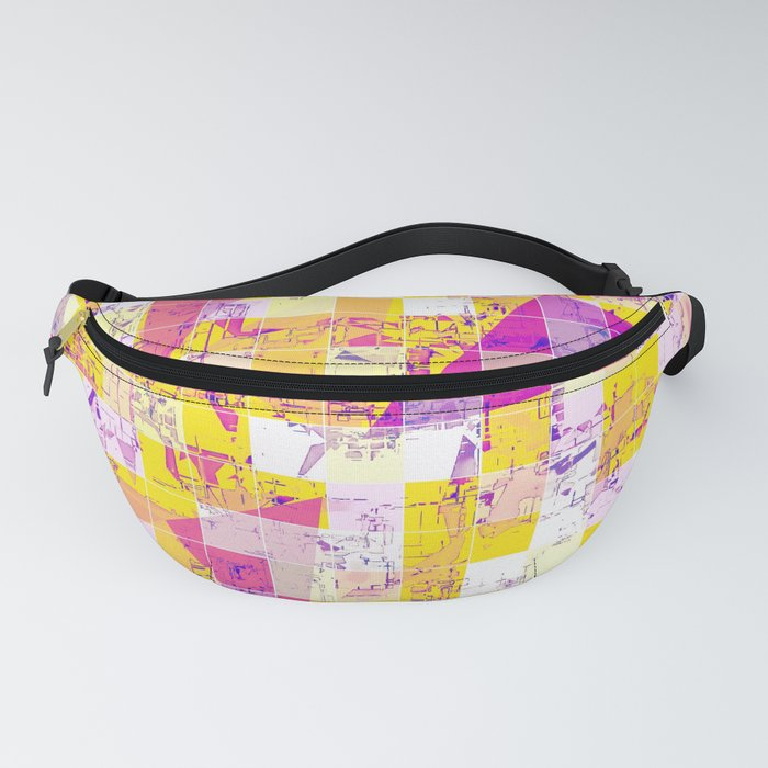 geometric square and triangle pattern abstract in pink yellow blue Fanny Pack
