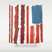 american flag Shower Curtains featuring American Flag  by Robert Payton