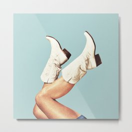 These Boots - Blue Metal Print