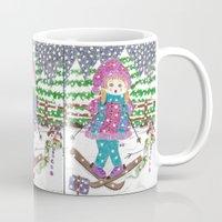 ski Mugs featuring Ski girl by iCraftCafé