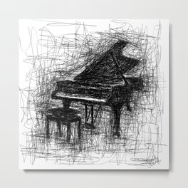 Instrumental - Piano Digital Scribble Metal Print