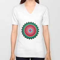 plaid V-neck T-shirts featuring Plaid Flower by Peter Gross