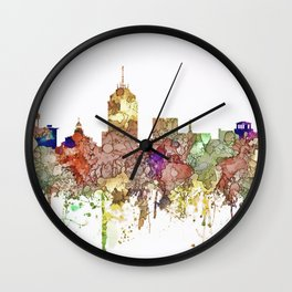 Fresno, California Skyline - Faded Glory Wall Clock