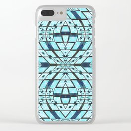 Three Dimensional Geometric Blue Patchwork Print Clear iPhone Case